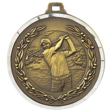 Diamond Edged Men's Golf Medal - Gold