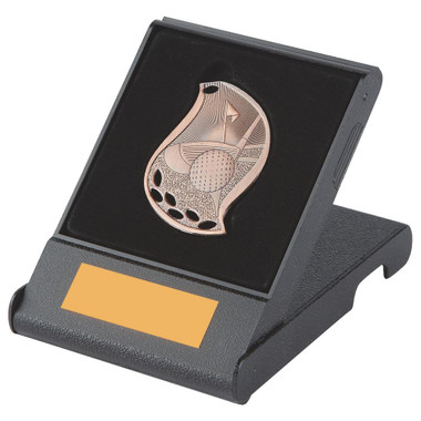 Attractive Flame Golf Medal in Case - Bronze