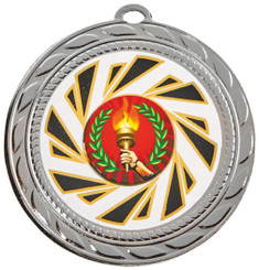 "70mm ""Sun Burst"" Sports Medals - Silver"