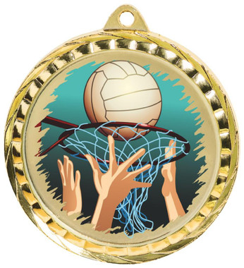 60mm Colour Print Sports Medal - Netball - Gold