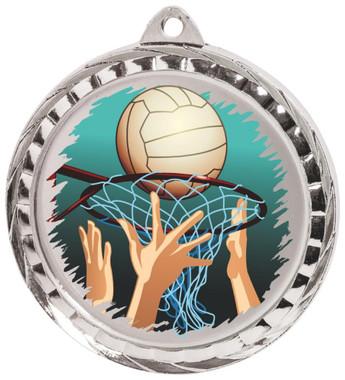60mm Colour Print Sports Medal - Netball - Silver
