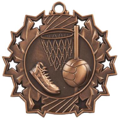 60mm Stars Netball Medal - Bronze