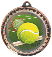 60mm Colour Print Sports Medal - Tennis - Bronze