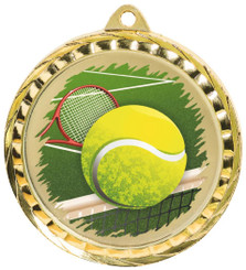60mm Colour Print Sports Medal - Tennis - Gold