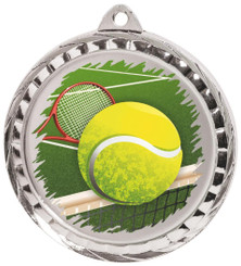 60mm Colour Print Sports Medal - Tennis - Silver