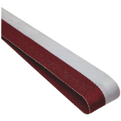 22mm Width Medal Ribbon - Maroon/White