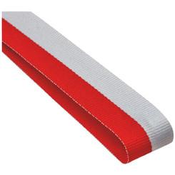 22mm Width Medal Ribbon - Red/White