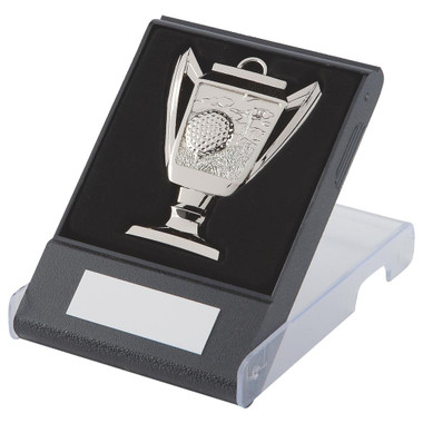 Cup design Golf Medal in Case - Silver