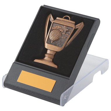 Cup design Golf Medal in Case - Bronze