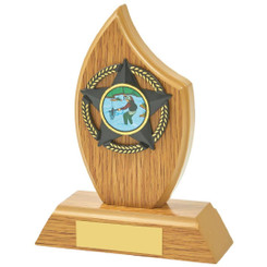 "Light Oak Sail Wood Trim Award - 14cm (5 1/2"")"