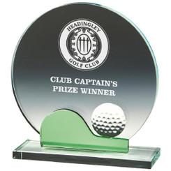 "Crystal Golf Award with Green - 17.5cm (7"")"