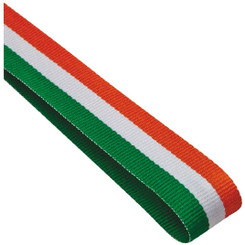 22mm Width Medal Ribbon - Green/White/Orange