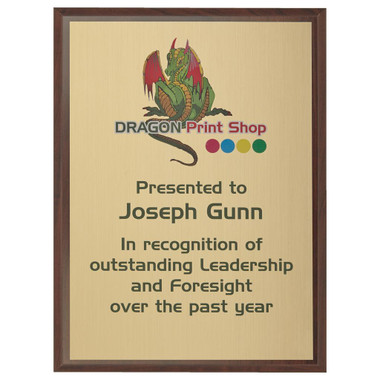 "Wood Plaque Award with Colour Laminate Front - 30 x 23cm (12"" x 9"")"