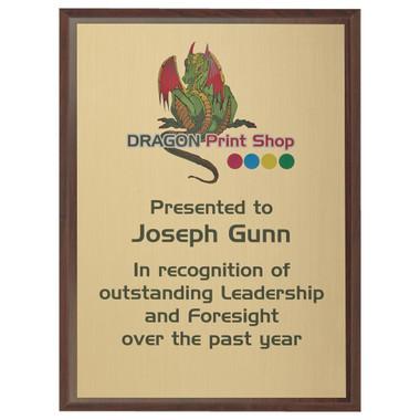 "Wood Plaque Award with Colour Laminate Front - 25 x 20cm (10"" x 8"")"