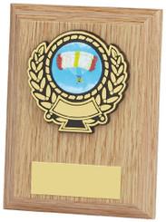 "Light Wood Plaque Award - 10cm (4"")"