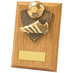 Light Oak Boot/Ball Wood Plaque Trophy - 13cm