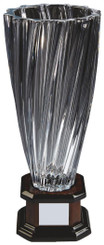"Bohemia Crystalite Twist Vase Award on Wood Stand - 38cm (15"")"