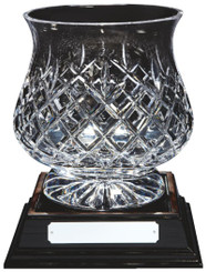 "Crystal Tulip Bowl on Wood Base - 23cm (9"")"
