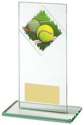 "Jade Glass Tennis Award - TW18-090-435ZCP - 16cm (6 1/4"")"