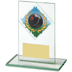 "Jade Glass Upright Award for Lawn Bowls - 12cm (4 3/4"")"