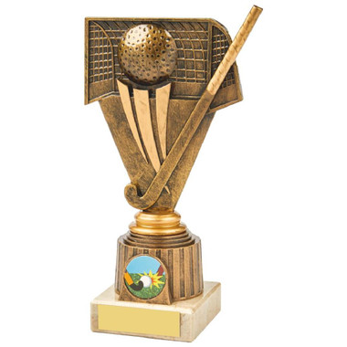Antique Gold Hockey Holder Award - 19cm