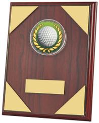 "Jade Glass on Wood Plaque Golf Award - 20cm (8"")"
