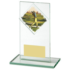 "Jade Glass Upright Golf Award - 14cm (5 1/2"")"