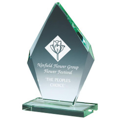 "Bevelled Jade Glass Diamond Business Award - 16.5cm (6 1/2"")"