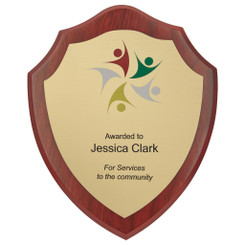 "Wood Shield Award with Colour Laminate Front - 15cm (6"")"