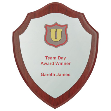 """Wood Shield Award with Colour Laminate Front - 20cm (8"""")"""