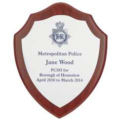 "Wood Shield Award with Colour Laminate Front - 17.5cm (7"")"