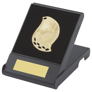 Attractive Flame Golf Medal in Case - Gold