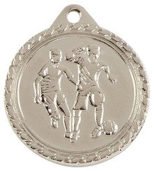 32mm Mens Football Medal - Silver
