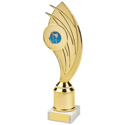 "Gold Swoosh Curve Holder Trophy - 24cm (9 1/2"")"