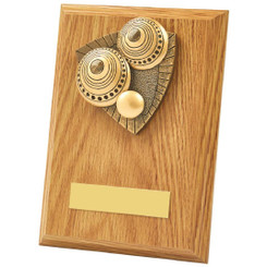 Light Oak Lawn Bowls Wood Plaque Award - 15cm