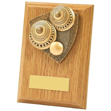 Light Oak Lawn Bowls Wood Plaque Award - 13cm
