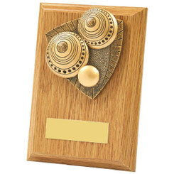 Light Oak Lawn Bowls Wood Plaque Award - 13cm