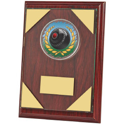 "Jade Glass mounted on Wooden Plaque for Lawn Bowls - 18cm (7"")"