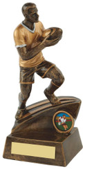 "Gold Mens Rugby Figure Trophy - 22cm (8 3/4"")"