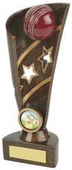 "Gold Cricket Award - Ball and Stars - 20cm (8"")"