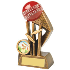 Antique Gold Cricket Award with Red Ball - 13cm