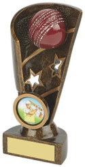 "Gold Cricket Award - Ball and Stars - 14cm (5 1/2"")"