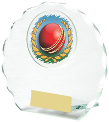 "Round Jade Glass Award for Cricket - 10cm (4"")"