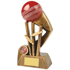 Antique Gold Cricket Award with Red Ball - 21cm