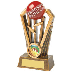 Antique Gold Cricket Wickets Award with Red Ball - 14cm