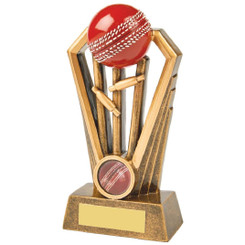 Antique Gold Cricket Wickets Award with Red Ball - 16.5cm