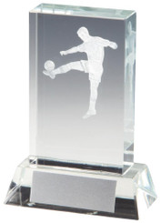 """Crystal Upright Mens Football Award with 3D Image inside - 9.5cm (3 3/4"""")"""