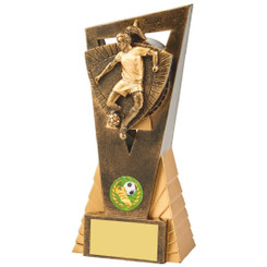 Antique Gold Female Footballer Edge Trophy - 18.5cm