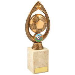 Antique Gold Marble Football Tear Trophy - 22.5cm