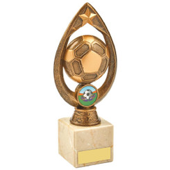 Antique Gold Marble Football Tear Trophy - 20cm